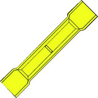 Klemko perskoppelstuk voor koperkabel A, koper, geel, 2 aftakkingen