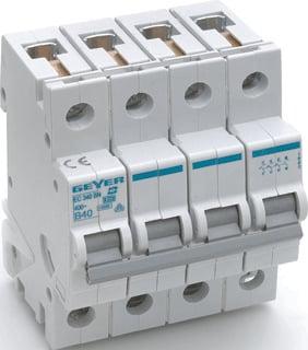 Geyer installatieautomaat 3 EC B, meeschakelende nul, 4 polen, 4 polen (totaal)