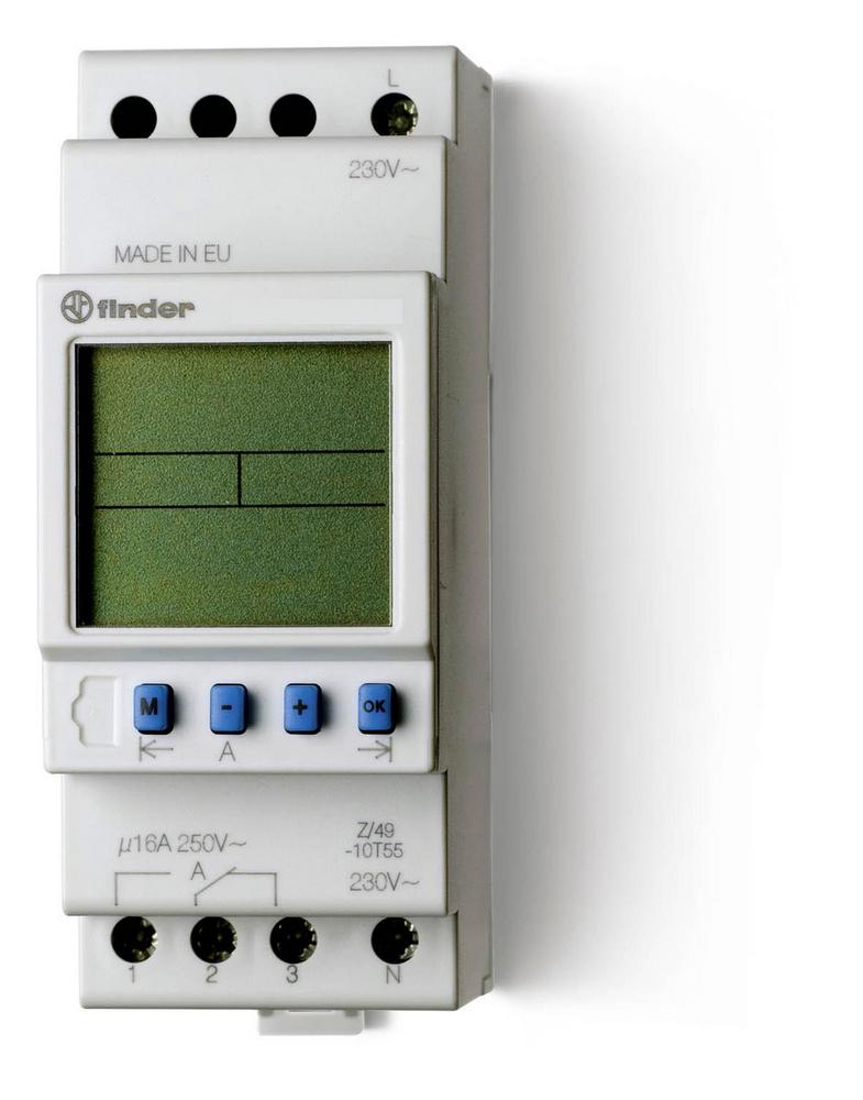 Tijdschakelklok Finder 12.21.8.230 230 V~ 1 wisselaar 16 A 250 V-AC (AC1) max. 16 A-250 V~, 4000 VA,