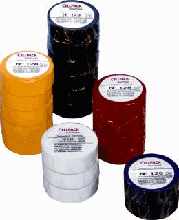 Cellpack zelfklevende tape 128, PVC, geel, (lxb) 25mx19mm, UV-bestendig, isol