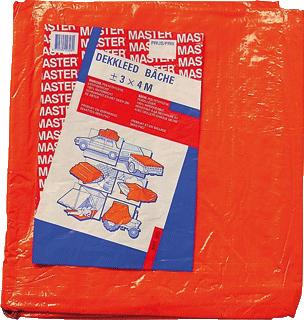 Master dekzeil, polyethyleen (PE), oranje, (lxb) 4x3m, bevestigingsogen