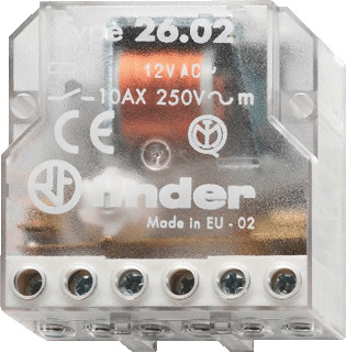 Finder 26 bistabiel relais, (hxbxd) 65x50x22mm inbouw, breedte in module-eenheden