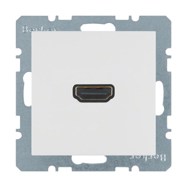 Hager berker S.1/B.3/B.7 centraalplaat HDMI™ dubbele stekker type A 90°-aansluiting met draagring, polarwit