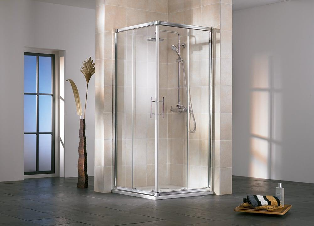 Productafbeelding van HSK Favorit hoekinstap 4-delig kunststofglas 90-90x185cm, alu zilver-mat