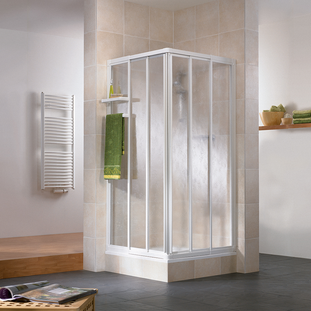 Productafbeelding van HSK Favorit hoekinstap 3-delig kunststofglas 73,5-90x73,5-90x185cm, alu zilver-mat