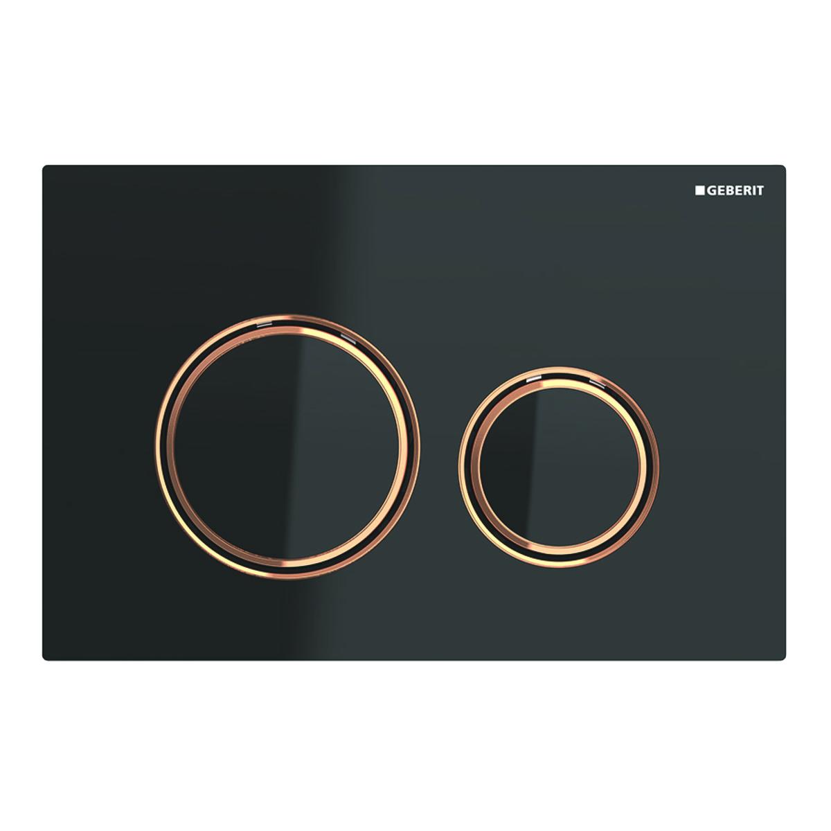 Geberit Sigma21 bedieningspaneel 2-knops, plaat zwart, knoppen zwart, randen roodgoud