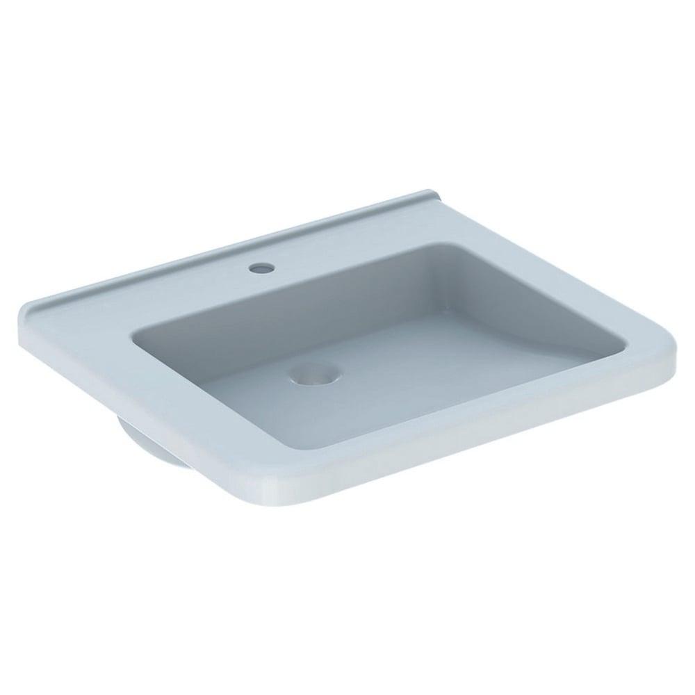 Geberit 300 comfort wastafel 65 cm 1 kraangat zonder overloop, hoekig, wit