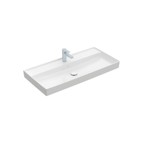 Productafbeelding van Villeroy & Boch Collaro meubelwastafel 100x47cm z. overloop m. 1 kraangat wit