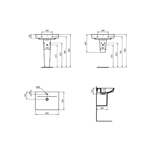 Productafbeelding van Ideal Standard Connect Air wastafel Cube m. 1 kraangat m. overloop 60x46cm Ideal Plus wit