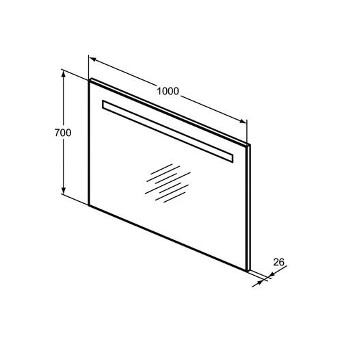 Ideal Standard Strada II spiegel m. verlichting horizontaal 100x70cm condensvrij aluminium look