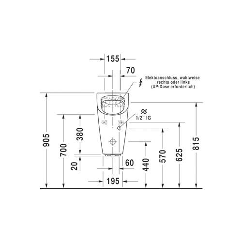 Productafbeelding van Duravit ME by Starck urinoir Rimless elektronisch met netvoeding met vlieg 30x35cm incl. complete sturing en bevestiging met wondergliss wit 28093100971