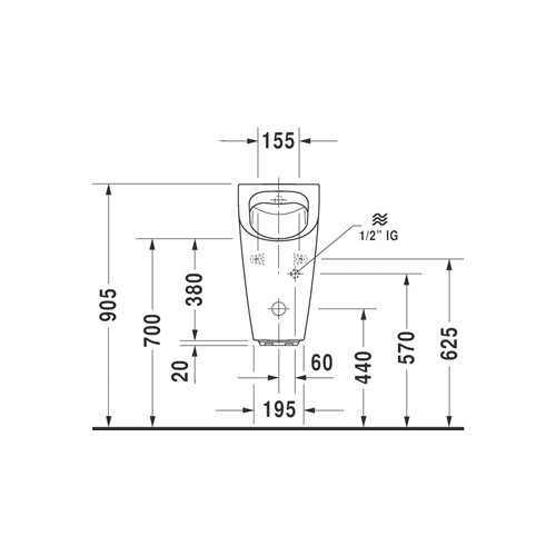 Productafbeelding van Duravit ME by Starck urinoir Rimless elektronisch met batterij zonder vlieg met Hygieneglaze 30x35cm incl. complete sturing en bevestiging wit 2809312000