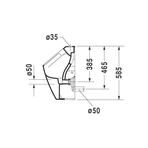 Productafbeelding van Duravit ME by Starck urinoir Rimless met boveninlaat zonder vlieg met Hygieneglaze incl. bev. afvoer horizontaal/verticaal wit 2815302000