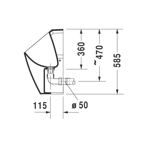 Productafbeelding van Duravit ME by Starck urinoir waterloos met vlieg met stankafsluiter incl. bev. afvoer horizontaal Ø50mm wit 2814300007