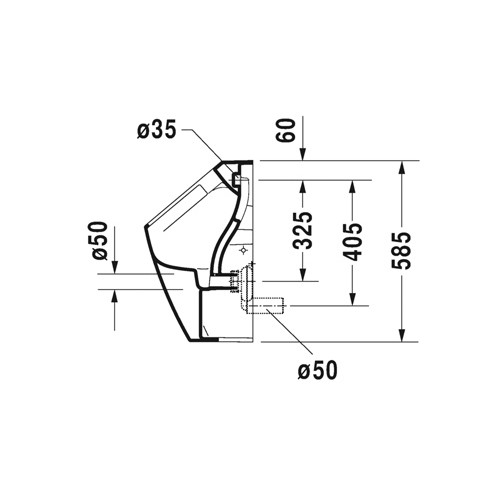 Productafbeelding van Duravit ME by Starck urinoir Rimless zonder vlieg met bevestiging met achterinlaat met wondergliss wit 28093000001