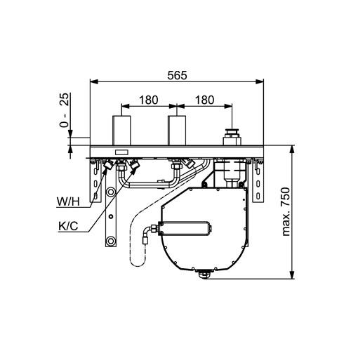 Productafbeelding van Hansa Compact basisgarnituur 3-gats tegelrandcomb.Met vloersteun 53070300