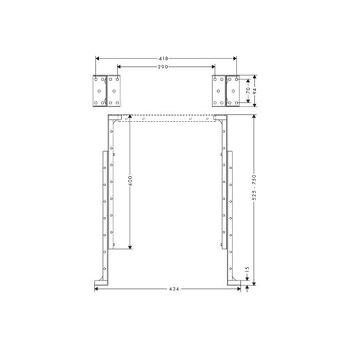 Hansgrohe sBox montagehoek v. montageplaat tegelrandmontage min. montage hoogte 400 max. 750