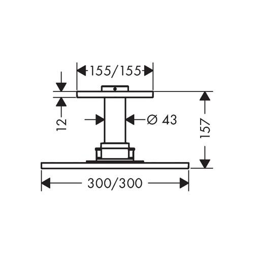 Productafbeelding van Hansgrohe AXOR ShowerSolutions hoofddouche 300/300 1jet m. plafondaansluiting 10cm 30x30cm chroom