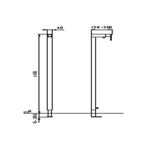 Wisa XS tussen/eindprofiel H118cm diepte verstelbaar 13,5-20cm