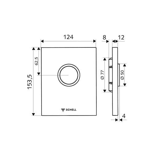 Schell Edition bedieningsplaat m. druktoets v. WC inbouwspoelkraan compact II edelstaal edelstaal