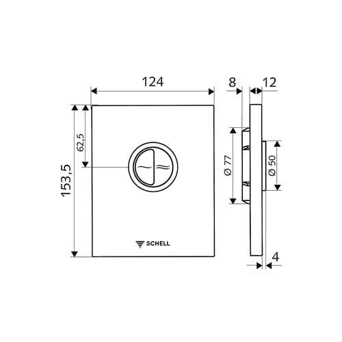 Schell Edition Eco bedieningsplaat DF v. WC inbouwspoelkraan compact II kunststof chroom