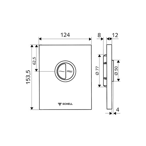 Schell Edition Eco bedieningsplaat DF v. WC inbouwspoelkraan compact II kunststof wit
