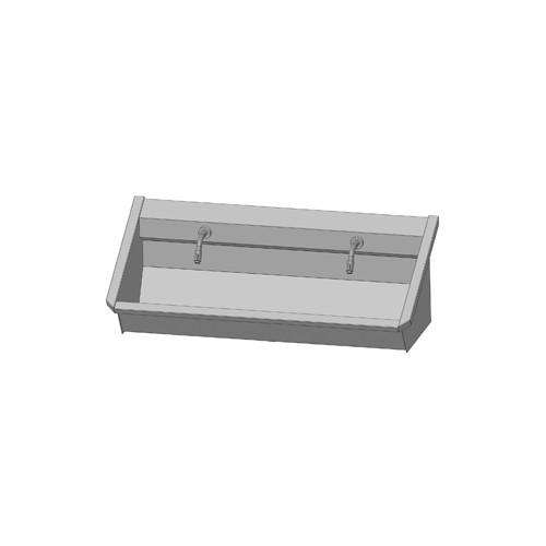 Intersan Sanilav muurwastrog m. muurkraan m. 1/4 draaiknop aan uitloop 120cm 2-personen RVS 102M1
