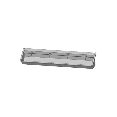 Intersan Sanilav muurwastrog m. muurkraan m. 1/4 draaiknop aan uitloop 240cm 4-personen RVS 104M1