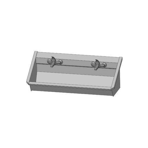 Intersan Sanilav muurwastrog m. 1-greeps mengkraan 120cm 2-personen RVS 102M6