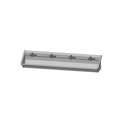 Intersan Sanilav muurwastrog m. 1-greeps mengkraan 240cm 4-personen RVS 104M6
