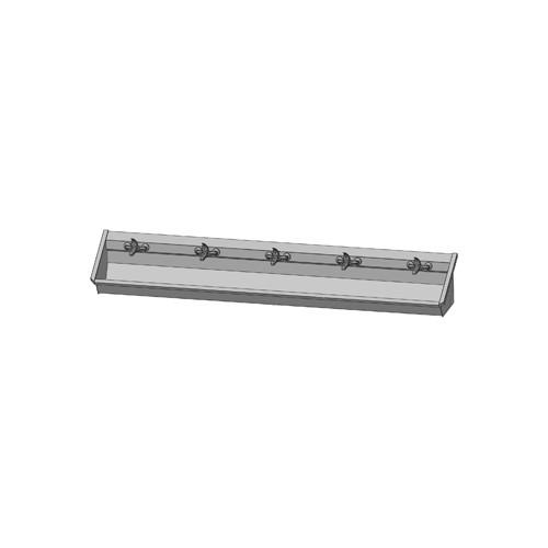 Intersan Sanilav muurwastrog m. 1-greeps mengkraan 300cm 5-personen RVS 105M6