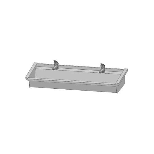 Intersan Sanilav muurwastrog m. 1-greeps wastafelkraan 120cm 2-personen RVS 502L4