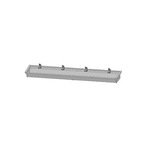 Intersan Sanilav muurwastrog m. 1-greeps wastafelkraan 240cm 4-personen RVS 504L4