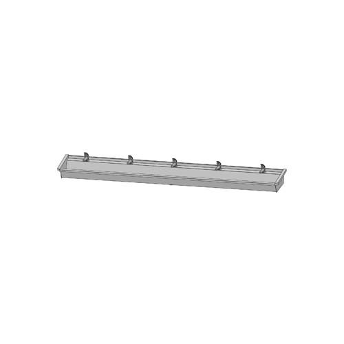 Intersan Sanilav muurwastrog m. 1-greeps wastafelkraan 300cm 5-personen RVS 505L4