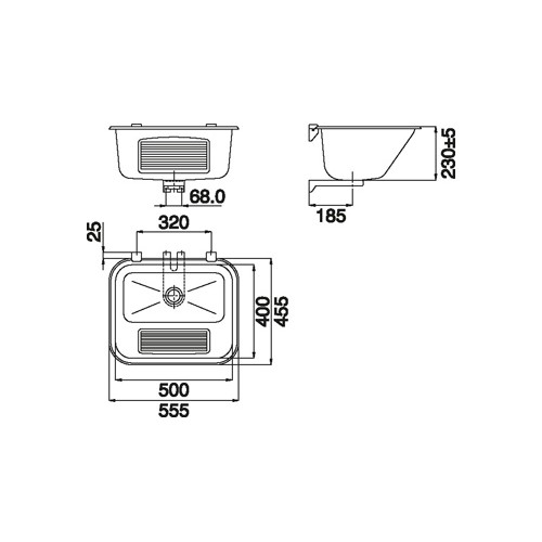Intra VK50S1 wastrog m. geribde voorplaat 55.5x48cm m. plug afvoer 6/4