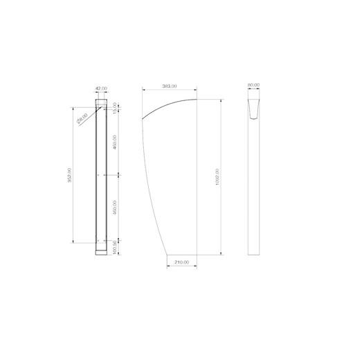 Intra E50i urinoirschot 38.3x109.2cm m. verborgen bevestiging RVS
