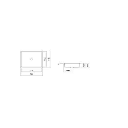 Alape Metaphor UB.ME500 onderbouwwaskom rechthoekig 50.4x37.9x10cm z. kraangat m. overloop + overloopgarnituur wit