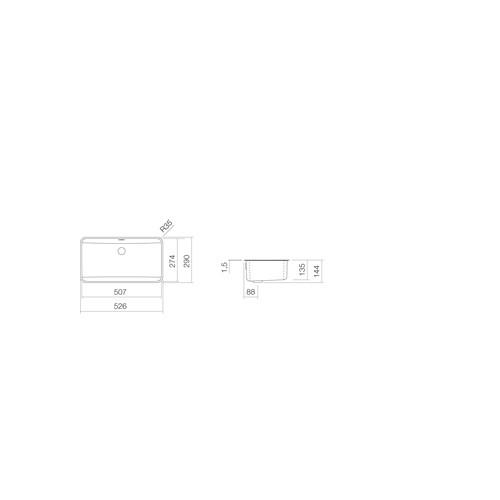 Alape UB.R585 onderbouwwaskom rechthoekig 50.7x27.4x13.5cm z. kraangat m. overloop + overloopgarnituur wit
