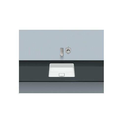 Alape UB.Q450 onderbouwwaskom vierkant 37.1x37.1x7.9cm z. kr.gat z. overloop + schachtventiel m. afdekkap wit