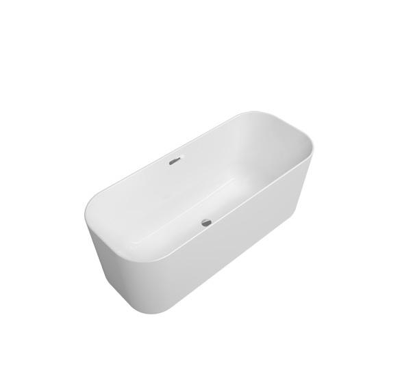 Productafbeelding van Villeroy & Boch Finion kunststof vrijstaand duobad quaryl ovaal m. watertoevoer 170x70x48cm incl. push-to-open afvoerplug + overloop chroom/wit