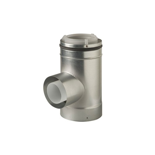 Ubbink Rolux etage T-stuk m. condensopvang 80/130mm PP/metaal