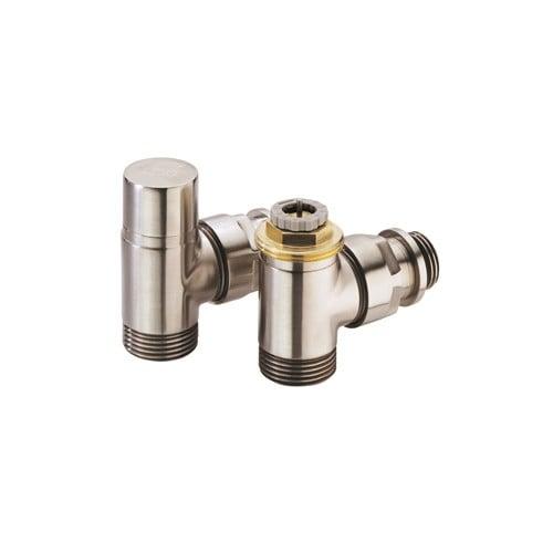 Comap Sar designset thermostaatkraan RVS inox + voetventiel haaks M30 1/2