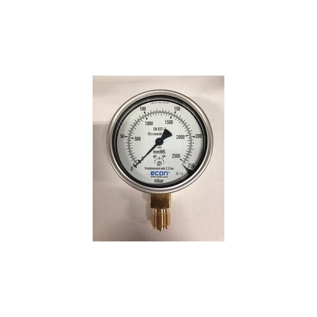 Gavilar manometer Econ kast RVS 100mm 1/2