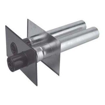 Burgerhout geveldoorvoer tweepijps Ø80/80mm l=700mm aluminium rookgaspijp zwart