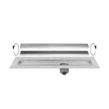 Easy Drain Multi TAF Wall douchegoot RVS met omkeerbaar rooster zero/tegel design enkel 120cm inbouw diepte vanaf 86mm met zijuitloop