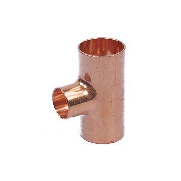 verloop T-stuk roodkoper 22x15x22mm gastec/Kiwa