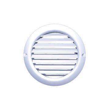 Plieger ventilatierooster kunststof met gaas aansluiting Ø100mm afmeting Ø128mm wit