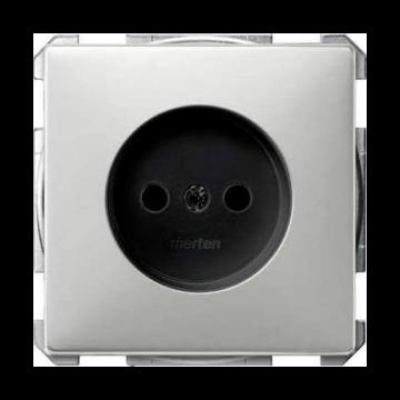 Schneider Electric Merten Systeem Design wandcontactdoos inbouw enkel, edelstaal
