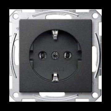 Schneider Electric Merten Systeem M met wandcontactdoos inbouw enkel randaarde, antraciet
