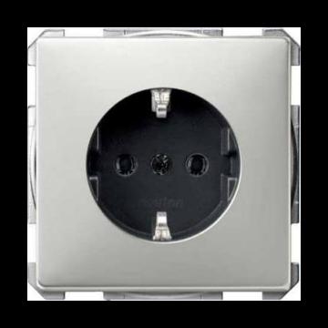Schneider Electric Merten Systeem Design wandcontactdoos inbouw enkel randaarde, edelstaal
